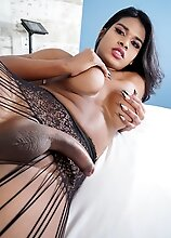Thay Jordana is a sexy Brazilian tgirl with a smoking hot body, big boobs and a perfect ass! Watch her stroking her cock until she cums!