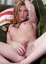 Beautiful Morgan poses her fat long cock