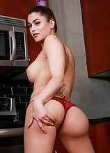Shemale pornstar Domino Presley solo kitchen play!