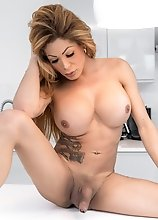 Euro superstar Vanessa Jhons shows off her smoking hot body, her perfect ass and plays with her big hard dick in this smashing solo scene!
