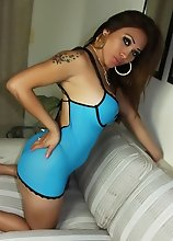Busty TransBabe shows her little penis under her blue lingerie