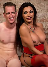 Transsexual dominatrix fucks her bound pony boy hard and gives him a wet juicy cream pie!