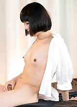 Japanese Ladyboy Yoko Asshole and Cock Bukkake