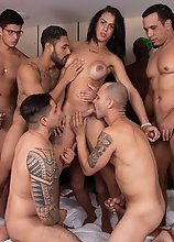Get in line for this bareback gangbang breeding Estela Duartte and feeding her a mouthful of hot jizz!