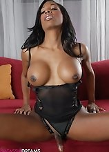 Sweet chocolate TS babe playing with a dude