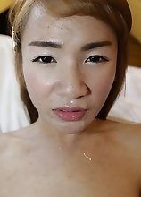 Small tits Thai Ladyboy with hairy cock enjoys ass fucking